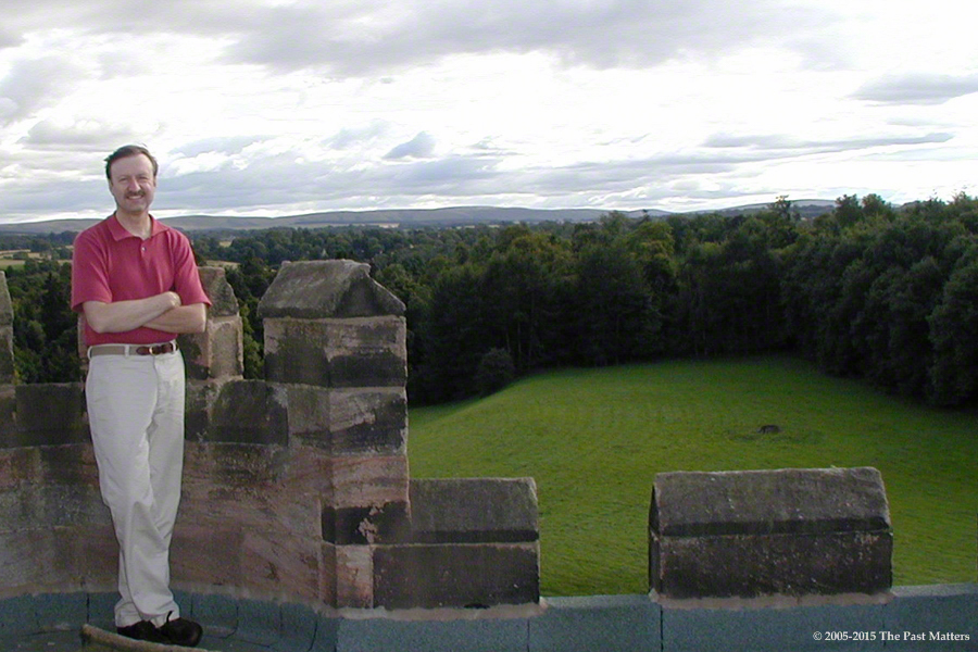 Robert Craig Wallace on the roof of Dalhousie Castle outside Bonnyrigg, Scotland.