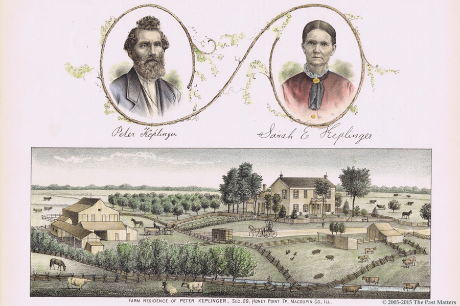 1876 wood engraving of Peter and Sarah Ellen (Harris) Keplinger and their farm.