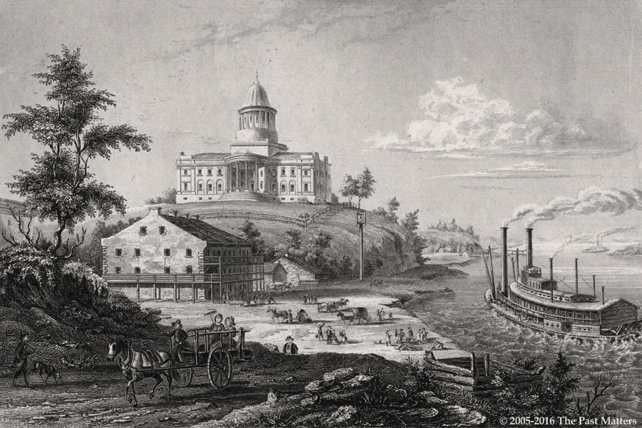 "Missouri State Capitol Building in Jefferson City depicted in an 1836 steel engraving from ""Meyer's Universum"""