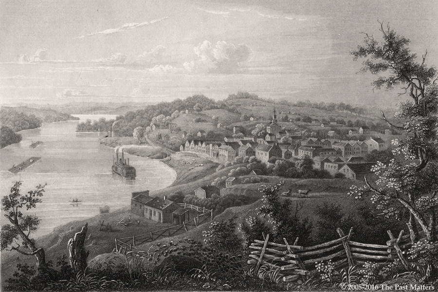 "Weston, Missouri, depicted about 1845 in a steel engraving from ""Meyer's Universum"""