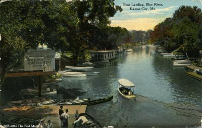 Boat landing on the Blue River in Jackson County, Missouri about 1907