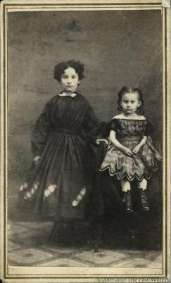 Flora M. Storms and her younger sister Genevieve about 1862
